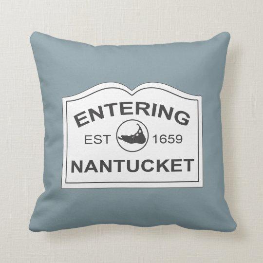 Nantucket Island, Est 1659 with Map in Denim Blue Throw Pillow
