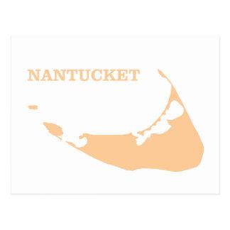 Nantucket Island in Sand Postcard