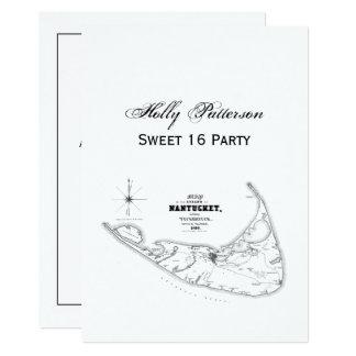 Nantucket Island MA Vintage Map Black Card