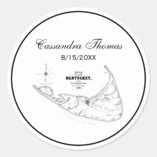 Nantucket Island MA Vintage Map Black Classic Round Sticker