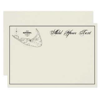 Nantucket Island MA Vintage Map Black Ivory BG Card