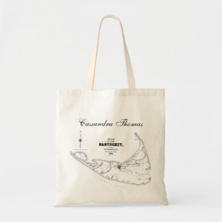 Nantucket Island MA Vintage Map Black Tote Bag