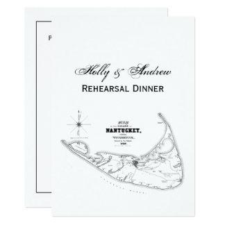 Nantucket Island MA Vintage Map Navy Black Card