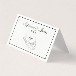 Nantucket Island MA Vintage Map Navy Black Place Card