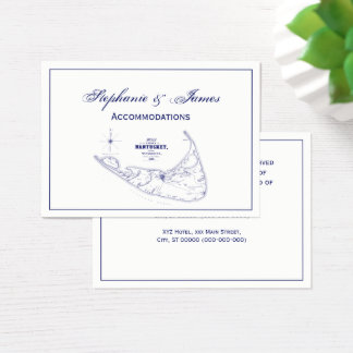 Nantucket Island MA Vintage Map Navy Blue Business Card
