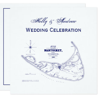 Nantucket Island MA Vintage Map Navy Blue Card