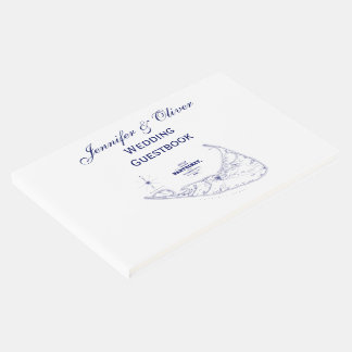 Nantucket Island MA Vintage Map Navy Blue Guest Book