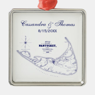 Nantucket Island MA Vintage Map Navy Blue Metal Ornament