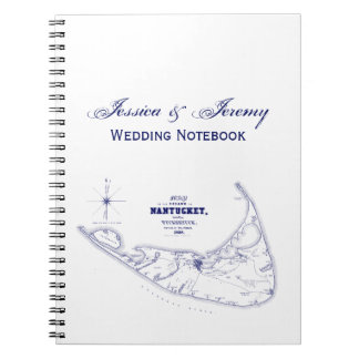 Nantucket Island MA Vintage Map Navy Blue Notebook