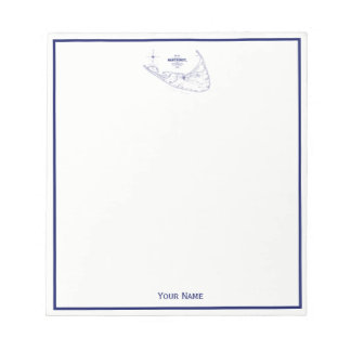 Nantucket Island MA Vintage Map Navy Blue Notepad
