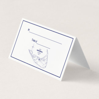 Nantucket Island MA Vintage Map Navy Blue Place Card