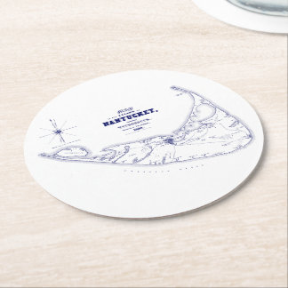 Nantucket Island MA Vintage Map Navy Blue Round Paper Coaster