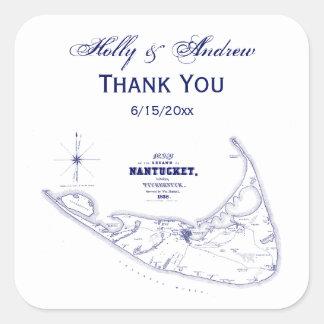 Nantucket Island MA Vintage Map Navy Blue Square Sticker