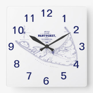 Nantucket Island MA Vintage Map Navy Blue Square Wall Clock