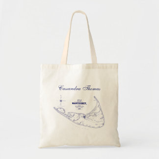 Nantucket Island MA Vintage Map Navy Blue Tote Bag