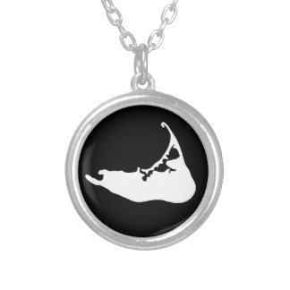Nantucket Island Map Charm in Black and White Silver Plated Necklace