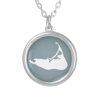 Nantucket Island Map Charm in White and Denim Blue Round Pendant Necklace