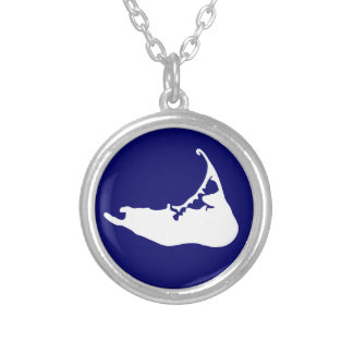 Nantucket Island Map Charm in White and Navy Blue Silver Plated Necklace