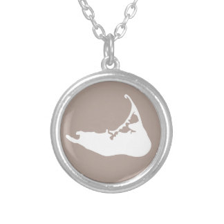 Nantucket Island Map Charm in White and Sand Silver Plated Necklace