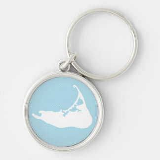 Nantucket Island Map Polka Dot in White & Blue Silver-Colored Round Keychain