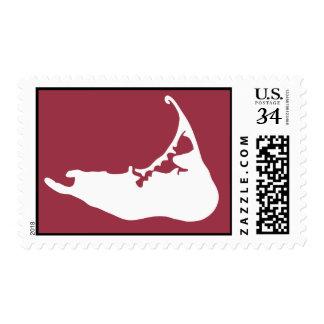 Nantucket Island, Massachusetts Map Cranberry Postage Stamp