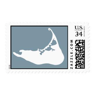 Nantucket Island, Massachusetts Map  White & Blue Postage Stamp