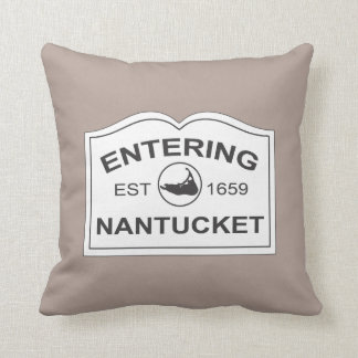 Nantucket Island Sign with Map in Sandy Beige Throw Pillow