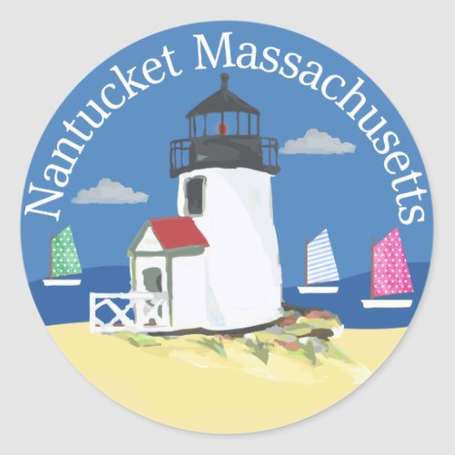 Nantucket Lighthouse with Colorful Sailboats Classic Round Sticker