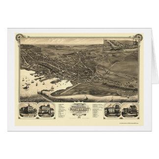 Nantucket, MA Panoramic Map - 1881 Greeting Card