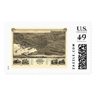 Nantucket, MA Panoramic Map - 1881 Postage Stamps