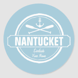 Nantucket, MA personalized name, nautical anchor Classic Round Sticker