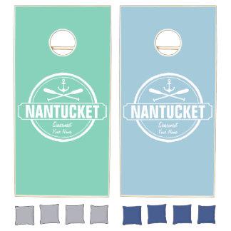 Nantucket, MA personalized name, nautical anchor Cornhole Set