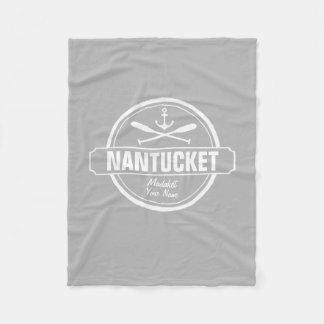 Nantucket, MA personalized name, nautical anchor Fleece Blanket