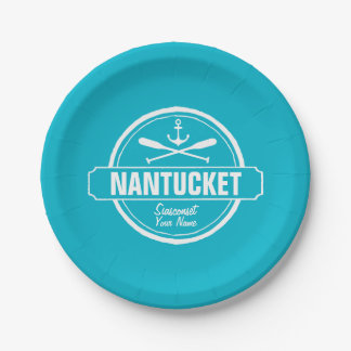 Nantucket, MA personalized name, nautical anchor Paper Plate