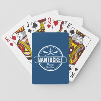 Nantucket, MA personalized name, nautical anchor Playing Cards