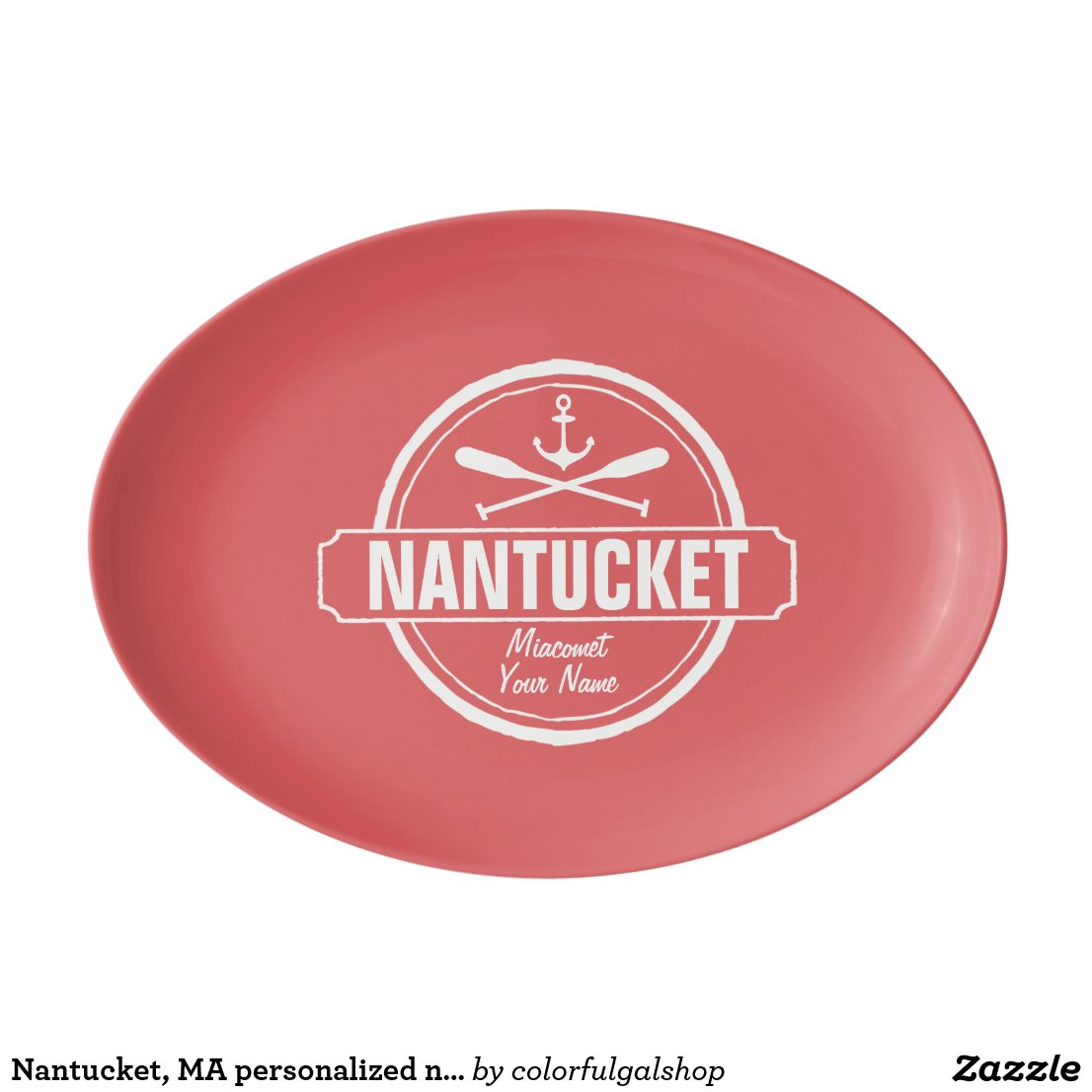 Nantucket, MA personalized name, nautical anchor Porcelain Serving Platter