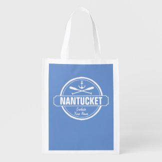 Nantucket, MA personalized name, nautical anchor Reusable Grocery Bag