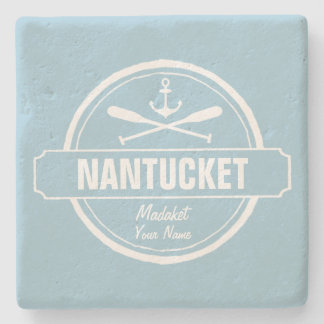 Nantucket, MA personalized name, nautical anchor Stone Coaster
