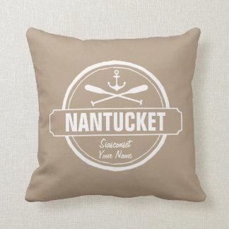Nantucket, MA personalized name, nautical anchor Throw Pillow