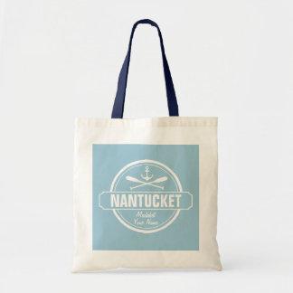 Nantucket, MA personalized name, nautical anchor Tote Bag