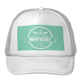 Nantucket, MA personalized name, nautical anchor Trucker Hat