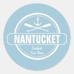 Nantucket, mA personalizó el ancla conocida, Pegatina Redonda