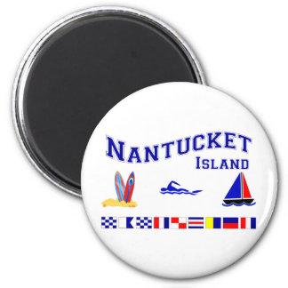 Nantucket MA Signal Flag 2 Inch Round Magnet