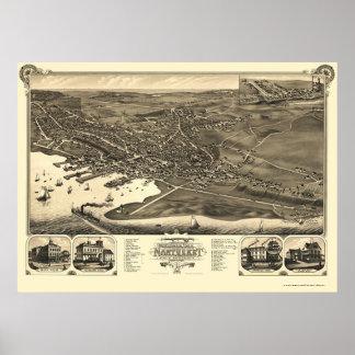 Nantucket, mapa panorámico del mA - 1881 Póster