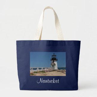 Nantucket Massachusetts Lighthouse Canvas Tote Bag