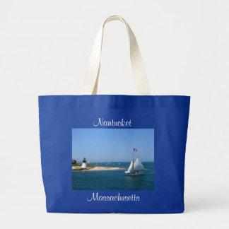 Nantucket Massachusetts Lighthouse Harbor Tote Bag