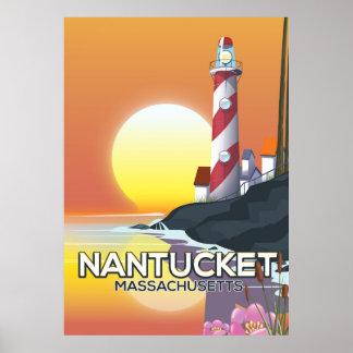 Nantucket Massachusetts lighthouse travel poster