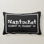 "Nantucket Massachusetts Longitude and Latitude Lumbar Pillow<br><div class=""desc"">Nantucket,  Massachusetts longitude and latitude coordinates in white on a black pillow,  framed a white nautical rope border,  but you can customize the text for your favorite beach or get-away destination.</div>"