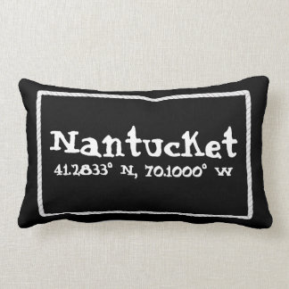 Nantucket Massachusetts Longitude and Latitude Lumbar Pillow