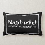 Nantucket Massachusetts Longitude and Latitude Throw Pillow
